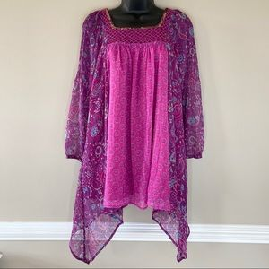 Monsoon Pink and Purple Asymmetrical Floral Dress
